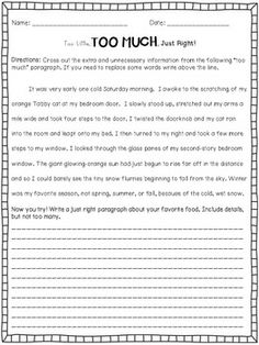 Too Little, Too Much, Just Right Elaboration - 4 pages of practice for your students to work on just right elaboration.
