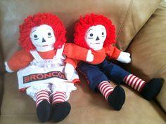 Broncos Raggedy Ann Andy Dolls Blue Orange Denver Football Fans Mint  #Dolls