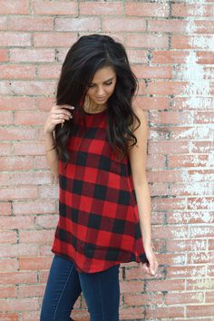 Vail Flannel Tank- Red from Shop Southern Roots TX