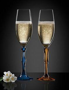 Kosta Boda Two of Us Flutes. Cute for a Boise State wedding! Champagne Flutes, Toasting Flutes, Icona Pop, Swedish House Mafia, Alesso, Go Big Blue, Kosta Boda, Glamour, Wedding Colors