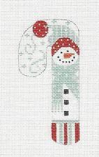 SM. Candy Cane Snowman & Red Pom Pom handpainted Needlepoint Canvas 110 by Danji