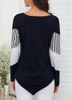 Long Sleeve Asymmetric Hem T Shirt Casual Tops For Women, Trendy Tops, Fashion Outfits, Fashion Tips, Womens Fashion, Boyfriend Jeans, Sleeves, Long Sleeve, Buy Cheap