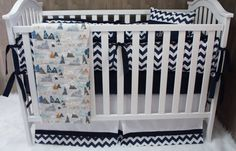 Baby Boy  Nursery Bedding  Crib Set   Max's Mountains by Babylooms