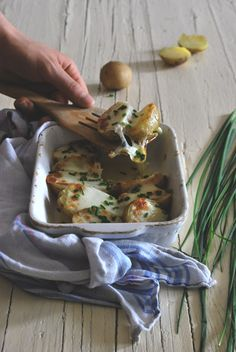 Roasted new potatoes with provola cheese