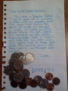 Proof that rural kids really have the biggest hearts! This little boy donated his piggy bank to the @Ranchers Relief Fund fund. https://www.facebook.com/photo.php?fbid=1421359311429696&set=a.1406327072932920.1073741829.1401198333445794&type=1&theater