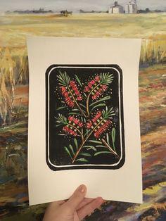 Lino Print - Callistemon / Bottle Brush - Hand coloured or Uncoloured by OhLittleSpark on Etsy https://www.etsy.com/au/listing/249997209/lino-print-callistemon-bottle-brush-hand