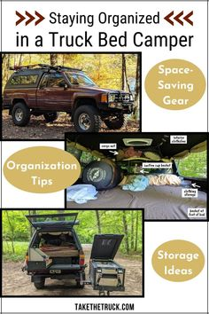 The challenge of keeping a truck bed camper interior organized is no joke! This post shares plenty of camper organization and space-saving storage ideas to help keep everyone happy and sane during your next adventure from a truck camper or other tiny camper. #takethetruck #diycamper #truckcamper #truckcamping