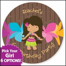 Luau Girl Birthday - 24 Round Personalized Birthday Party Sticker Labels