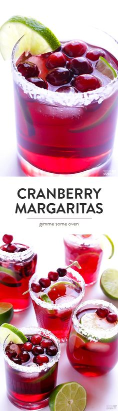 Cranberry Margaritas Recipe -- this festive drink is super quick and easy to make, and it's perfect for Christmas or any day you feel like a marg!