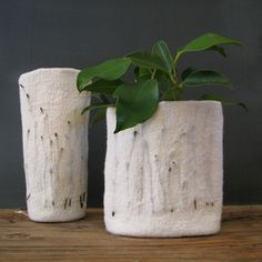 These are felted vases that have birch twigs within the felt, how cool.  They are made by a process called wet felting.  They are available at Post 61 collective
