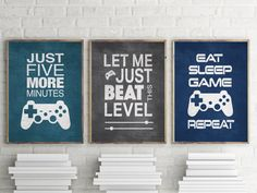 Set of 3 Video Gamer Graphic Prints or Matted Options Wall Art Cool set of Gamer Wall Art! Set of 3 Video Gamer Graphic Prints or Gamer Bedroom, Kids Bedroom, Boys Bedroom Ideas 8 Year Old, Boys Bedroom Colors, Boys Game Room, Teen Game Rooms, Boy Rooms, Teen Boy Bedrooms, Deco Gamer
