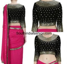 pink saree black mirror work blouse Best Picture For black blouse designs For Your Taste You Mirror Work Saree Blouse, Black Saree Blouse, Mirror Work Dress, Mirror Work Blouse Design, Mirror Saree, Saree Dress, Black Blouse Designs, Blouse Neck Designs, Saree Blouse Patterns