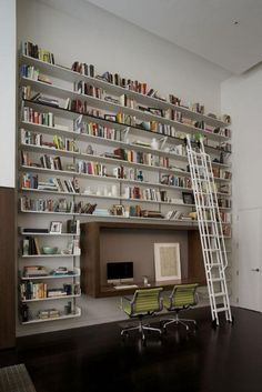 Home library & reading room..like the shelving over the desk...