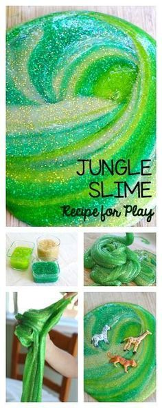 How to Make Jungle Slime! A simple and basic slime recipe perfect for a jungle, rainforest, or African savanna unit. Messy, sensory play fun that the kids are going to love! Toddler Activities, Preschool Activities, Jungle Activities, Preschool Jungle, Camping Activities, Rainforest Preschool, Rainforest Crafts, Camping Crafts, Preschool Art