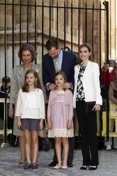 King Felipe and Queen Letizia as well as Queen Sofia of Spain (former) attend Easter Mass at the Cathedral in Palma with Infantas Leonor and Sofia in Mallorca 4/5/2015