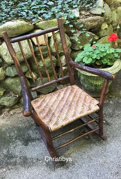 Old Hickory arm rocker, 5 rod back, restored rattan weave, original wood patina, ca. 1930-. Available, Christibys