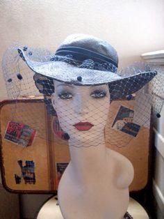 Beautiful dramatic 80s does 40s CASABLANCA Veiled Navy TILT HAT     $28.00