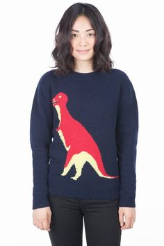 Peter Jensen Wool Rex Sweater - anish architect Arne Jacobsen seems like an unlikely inspiration for Peter Jensen's pre-Fall collection, but his timeless ideas with a modernist twist fit right in with the brand's aesthetic. Classic sweaters and dresses are given a little Jensen eccentricity with friendly knit dinosaurs and silk blouses are patterned with industrious ants.