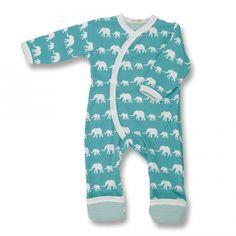 Elefanten Bio Design-Strampler Blau