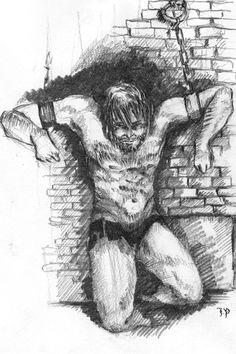 """""""Cartius hing im hintersten Winkel der Zelle. Abgesehen von einer in Fetzen von seinen Beinen hängenden Leinenhose, war er nackt. Über seine Schultern und die Brust verliefen tiefe, blutverkrustete Striemen. Thorn musste angesichts des so veränderten Anblicks des Sklaven-führers kurz schlucken. Alles Stattliche war verschwunden. Vor sich sah er einen Mann, der vom Leben zum Narren gemacht worden war und der jetzt nur noch darauf wartete, von seiner inneren Qual erlöst zu werden ..."""" Antonio Mora, Artwork, Naked, Work Of Art, Auguste Rodin Artwork, Artworks, Illustrators"""