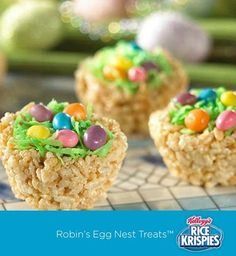 """Rice Krispies Treats™ """"nests,"""" coconut """"grass,"""" and jelly bean """"eggs."""" Such a fun idea for the kids to make for Easter!"""