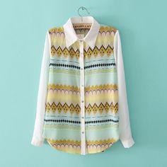 Free shipping Korean fashion women's 2014 spring new Hot cheap colored geometric temperament long-sleeved chiffon blouse $19.99