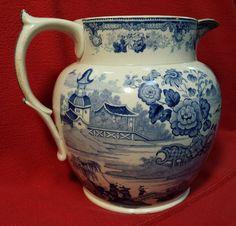 "19th Century Staffordshire English Pottery Jug Pearl Ware ""Chinese Views"""