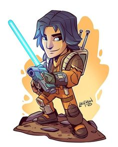 Chibi Ezra. Prints will be available May 4th at www.dereklaufman.com I will be having a big site wide sale that day. So mark your calendars! #maythe4thbewithyou #ezra #rebels #starwars #starwarsrebels