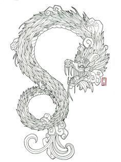 Quetzalcoatl by djog on DeviantArt Body Art Tattoos, Cool Tattoos, Tatoos, Tatuagem Azteca, Quetzalcoatl Tattoo, Tattoo Japonais, Tinta Tattoo, Mayan Tattoos, Dragons Tattoo