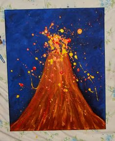 Cut out volcanos, have the child blow paint through a straw to make the lava