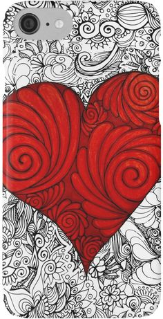 Red Red Love Heart by cynthiacabello love, heart, red, zen, ink, illustration, unique, trendy, girlfriend, boyfriend, wife, husband, lover, friendship, romance, cute, cool, organic, hand made, valentine day, special