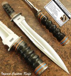 IMPACT-CUTLERY-RAR-CUSTOM-D2-BLOOD-GROOVED-BOWIE-KNIFE-IMPALA-BULL-HORN-HANDLE