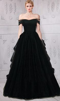 134fca0576d Beautiful A Line Off The Shoulder Black Tulle Ruffle Evening Prom Dress