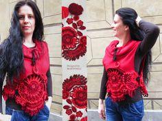 Red Freeform Crochet Sweater, Tunic Sweater, Bolero Jacket, Loose Sweater    I designed and constructed this RED LOOSE FREEFORM CROCHET SWEATER.  I $89