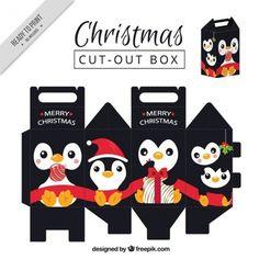 Belle boîte de pingouin de noël