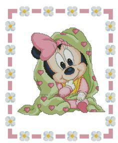Disney Cross Stitch Patterns, Cross Stitch Designs, Mini Cross Stitch, Cross Stitch Charts, Baby Mickey, Cross Stitching, Embroidery Stitches, Baby Cross Stitch Patterns, Cross Stitch For Baby