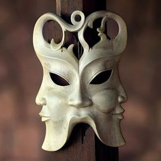 Hibiscus Wood Wall Mask - In Three Directions | NOVICA