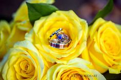 I love how the custom designed engagement ring pops out of the yellow roses. photosbyrb.com #weddingring