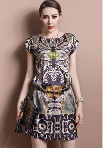 robe en organza rétro manches courtes
