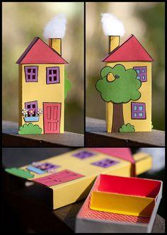 Matchbox Crafts, Matchbox Art, Diy Crafts For Kids, Projects For Kids, Art For Kids, Cardboard Crafts, Paper Crafts, Cigar Box Art, Box Houses