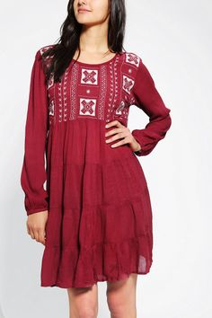 Staring At Stars Embroidered Gauze Babydoll Dress