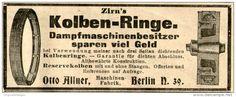 Original-Werbung/ Anzeige 1905 - ZIRN'S KOLBEN-RINGE / MASCHINENFABRIK OTTO ALLNER BERLIN - ca. 100 x 40 mm
