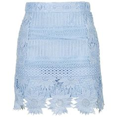 TOPSHOP Cutwork Flower Lace Miniskirt (2,500 HNL) ❤ liked on Polyvore featuring skirts, mini skirts, bottoms, short skirts, lace skirt, blue skirt, mini skirt and petite skirts