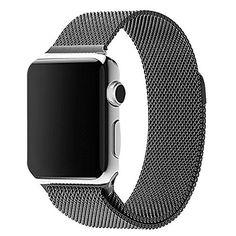 38 mm Apple Watch Milanaise Edelstahl Armband Magnet-Verschluss Luxus Uhrenband Strap Genius Stainless Steel Basic / Sport / Edition - Keine Schnalle benötigt - in Schwarz von OKCS - http://on-line-kaufen.de/okcs/38-mm-magnet-schwarz-42-mm-apple-watch-milanaise-in