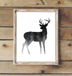 Deer Silhouette & Forest Black White by 2LittleCrownsPrints