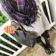 IG @mrscasual <click through to shop this outfit> Infinity Scarf tunic sweater and hunter boots