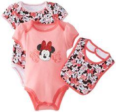 Disney Baby Baby-Girls Newborn Minnie 2 Pack Creeper Bib Layette Pink- Med Pink $8.99 (save $3.00)