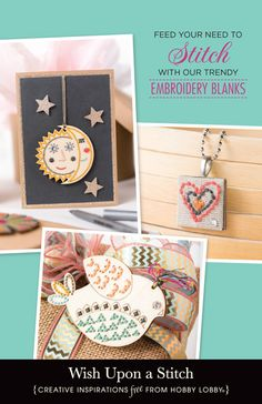Hobby Lobby Project - Wish Upon A Stitch - Floss, Embroidery, Needlework, Needleart, Stitch, Canvas, Wood, Blank, Pre-punched, Easy, DIY, Pendant, Necklace, Magnet, Nursery, Home, House, Decor, Felt, Baby