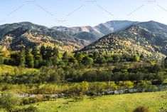 Mountain autumn landscape with colorful forest. Alpine valley with a river on the background of coniferous and deciduous forests, and high peaks. Mountain Landscape, River, Autumn, Mountains, Nature, Color, Colour, Naturaleza, Fall