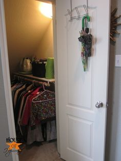 Small Coat Closet Under Stairs Shelves 39 Ideas For 2019 Landry Room, Tiny Closet, Small Coat Closet, Hall Cupboard, Closet Storage, Stair Shelves, Coat Storage, Closet, Closet Under Stairs